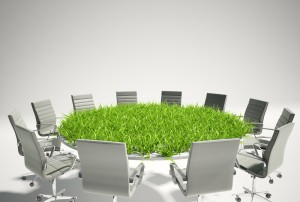 Misc - conference room table with grass growing
