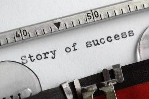 story of success on typewriter