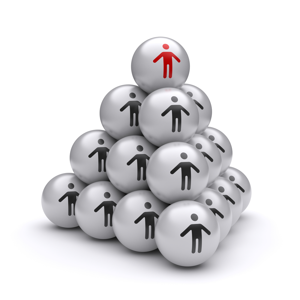 Growing leaders - leader at top of ball pyramid