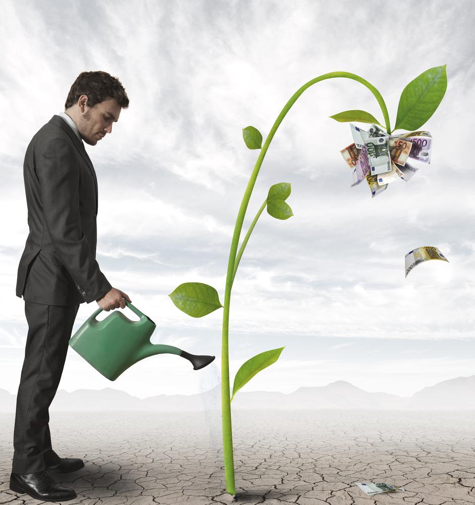Money - man watering money tree