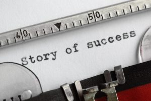 story of success on typewriter