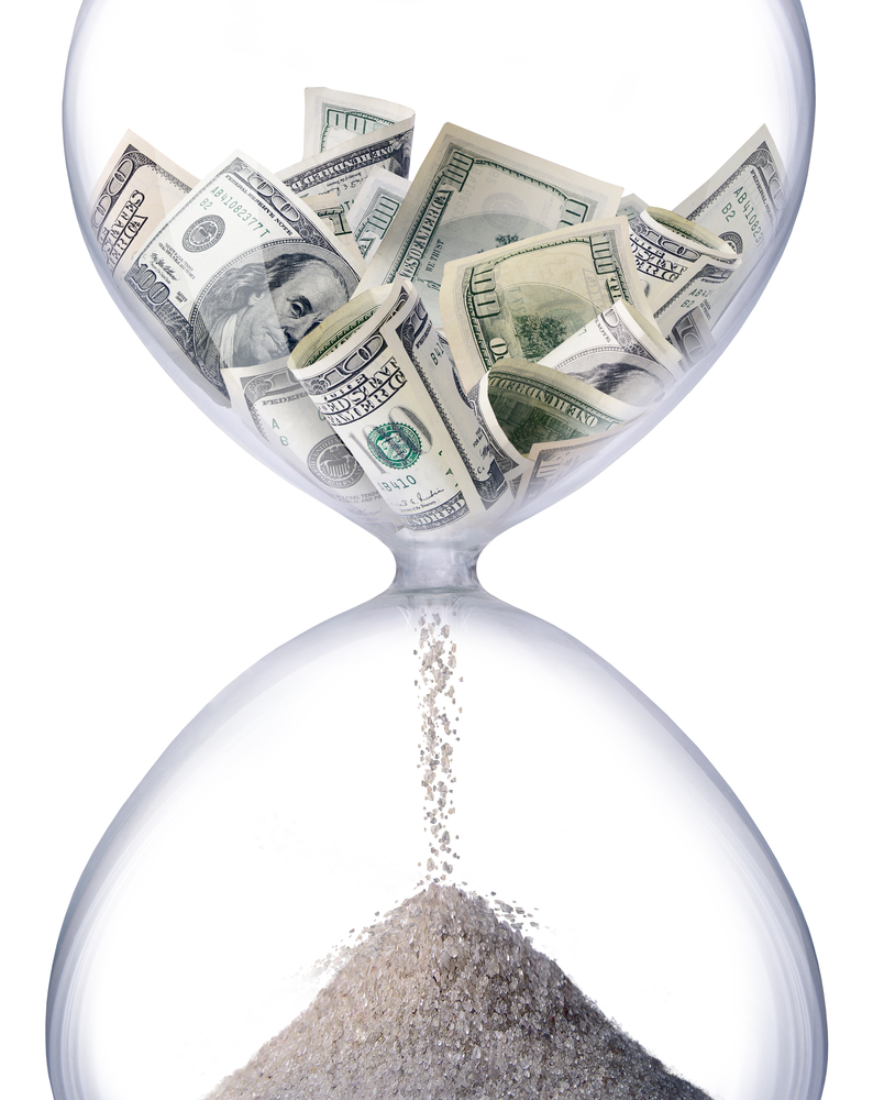 Time & time management - time is money hourglass