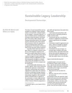 Sustainable Legacy Leadership (OD Practitioner)